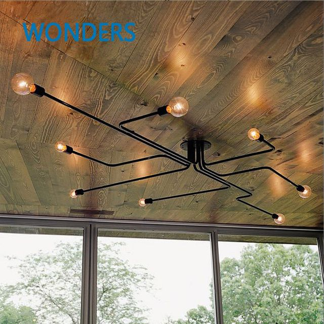 Retro industrial loft Nordic pipe Wrought iron ceiling light lustre lamps for home decor restaurant dinning cafe bar room