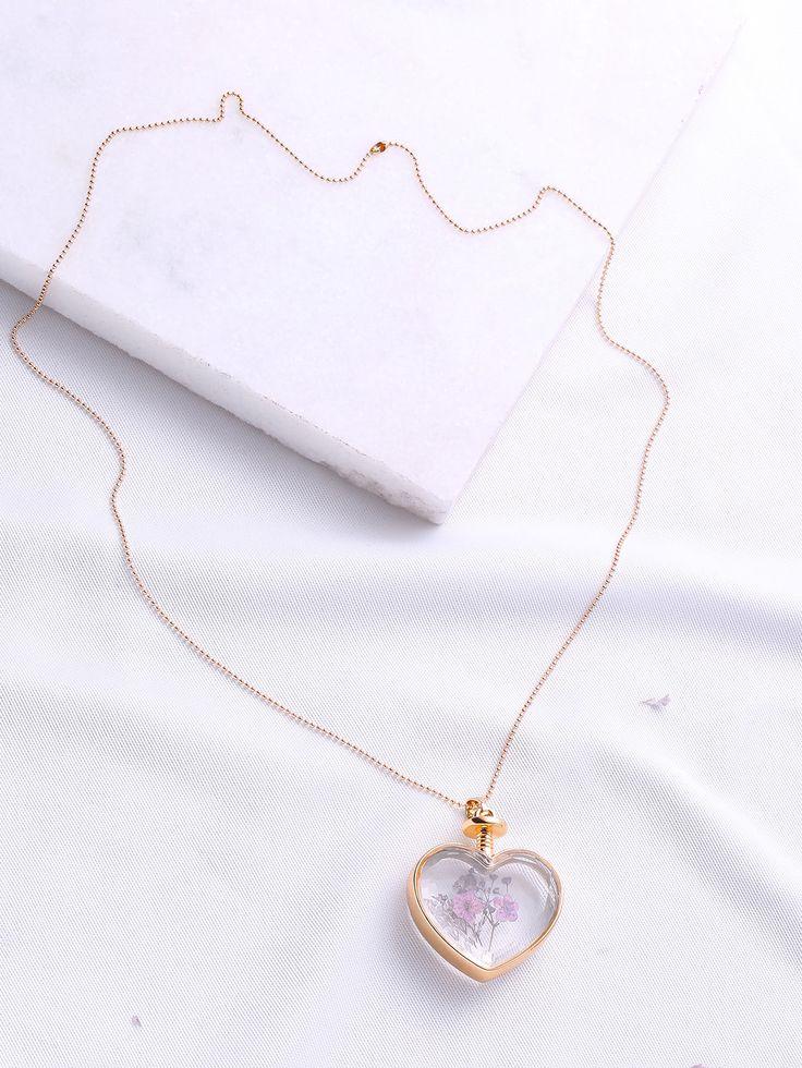 Flower Heart Pendant Chain Necklace
