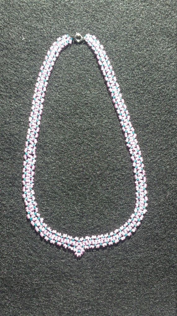 Pink and Teal Necklace by THUniqueBoutique on Etsy