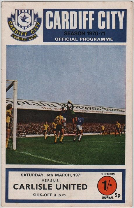 Vintage Football Programme - Cardiff City v Carlisle United, 1970/71 season