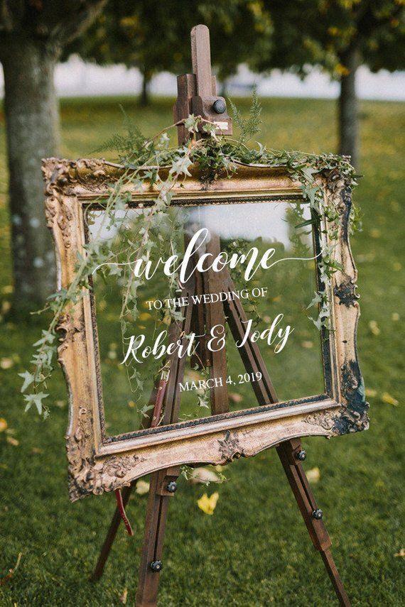 Willkommensschild Hochzeit / personalisierte Paare Namen und Daten / Spiegel-Decal-Bridal S