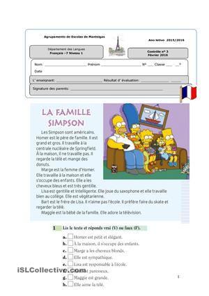 Contrôle niveau 1 « La famille»