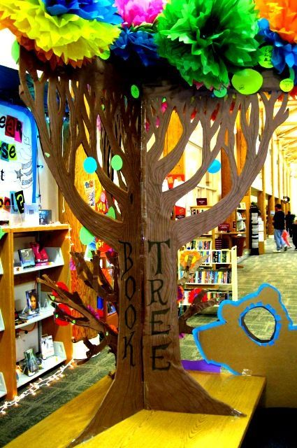 Cardboard Tree Library Display from Rachel Moani-How magical! Directions to create are included at her blog.