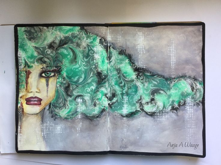 Art journal mixed media. Made by Anja Andresen Waage