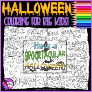 """Tutor time activities for secondary students! Halloween Colouring Pages: Super fun and relaxing for teens!  These """"Halloween"""" doodle colouring pages are a relaxing and fun resource for your students to colour and maybe even decorate the classroom with, on Halloween!"""