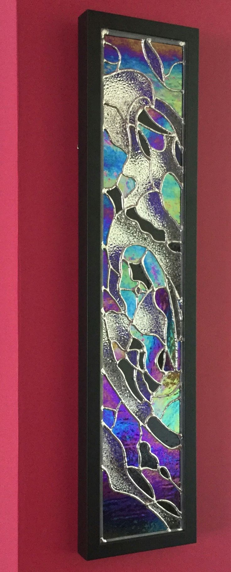 """Slice of a Galaxy 3.0""  A stained glass artwork created by Brian Dickinson aka. #dolittleglass   One of a series based on a Space theme. Recently exhibited at the UK Astro Show.   Mounted with a mirror behind the stained glass so that the artwork can be wall hung."