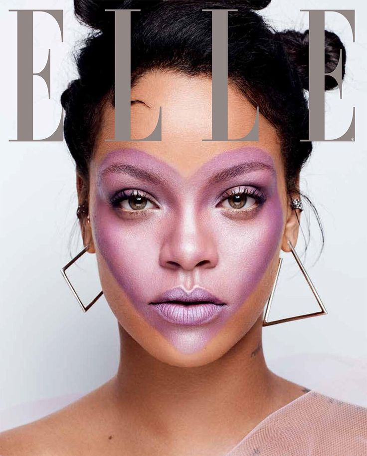 Rihanna for Elle Magazine. (October Edition) – Featuring Fenty Beauty: Match Stix in shade Unicorn.