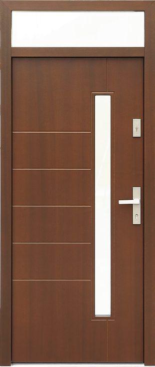Drzwi z naświetlem górnym z szybą wzór 441,11 w kolorze orzech.