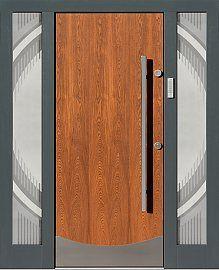 Drzwi zewnętrzne ze stałymi dostawkami doświetlami bocznymi model 500c w dąb antyczny