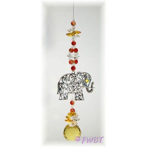 Elephant suncatcher - ELSC002 - Crystal Suncatchers, Stick on Stained Glass, Leadlight Adhesive Overlay - Just Like Leadlight