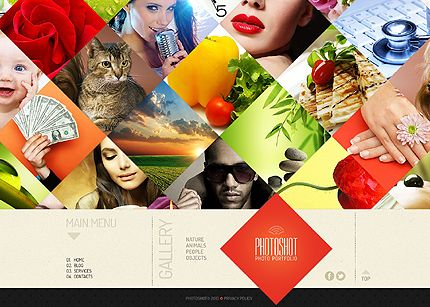 Template 44294 - Photography One-page Website Template Spectacular Homepage Diamond-Grid Collage and Portfolio with Categories