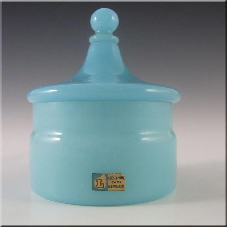 Lindshammar Swedish Blue Glass Bowl by Gunnar Ander - Label - £20.00