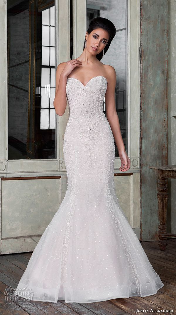 Justin Alexander Signature Spring 2016 Wedding Dresses | Wedding Inspirasi | Embroidered Lace & Beaded Strapless, Mermaid Silhouette Wedding Gown With Sweetheart Neckline, Horsehair Trimmed Skirt, & Chapel Train>>>>