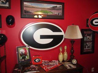 Georgia Bulldog Fan's Office...AKA Man-Cave! - traditional - home office - atlanta - by Bella Cosa Home Designs, LLC