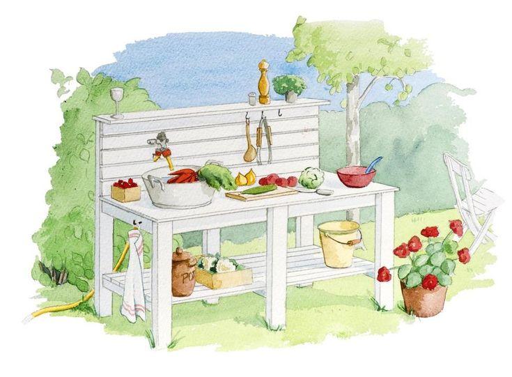 Visst vore det härligt att slippa springa ut och in mellan köket och grillen. Bygg ett utekök med arbetsbänk och vattenkran så kan du bereda måltiderna i solen.