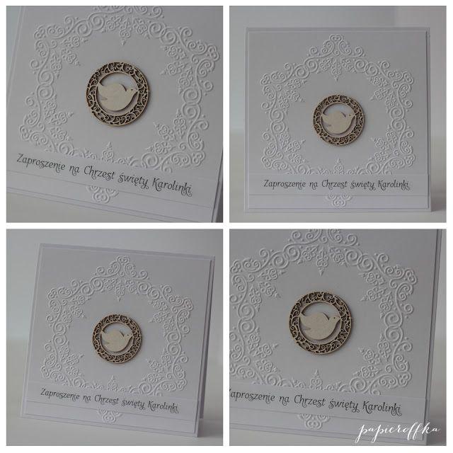 papieroffka zaproszenia biały gołąbek chrzest