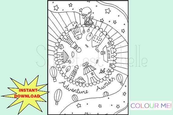 Cute Printable A5 Size COLORING Page Adventure by SweetestChelle