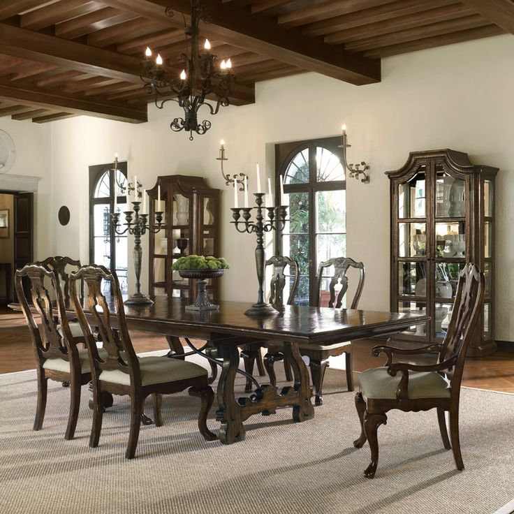 Bernhardt Artisan Estate Rectangular Dining Room Set With Splat Back Chairs In Burnished Sage