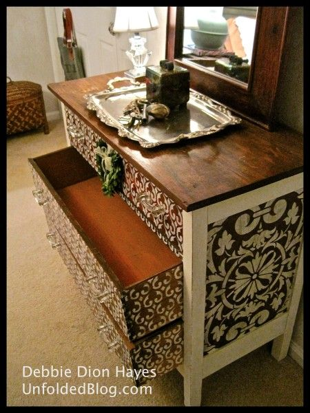 Debbie from the Annie Sloan Unfolded blog decided to dress up a guest room dresser and used both our Villa Classic Panel and Moorish Fleur de Lis stencils along with Chalk Paint™ decorative paint in Old White. - Furniture painting stencils from Royal Design Studio