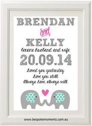 Elephant Wedding Print by Bespoke Moments. Worldwide Shipping Available.