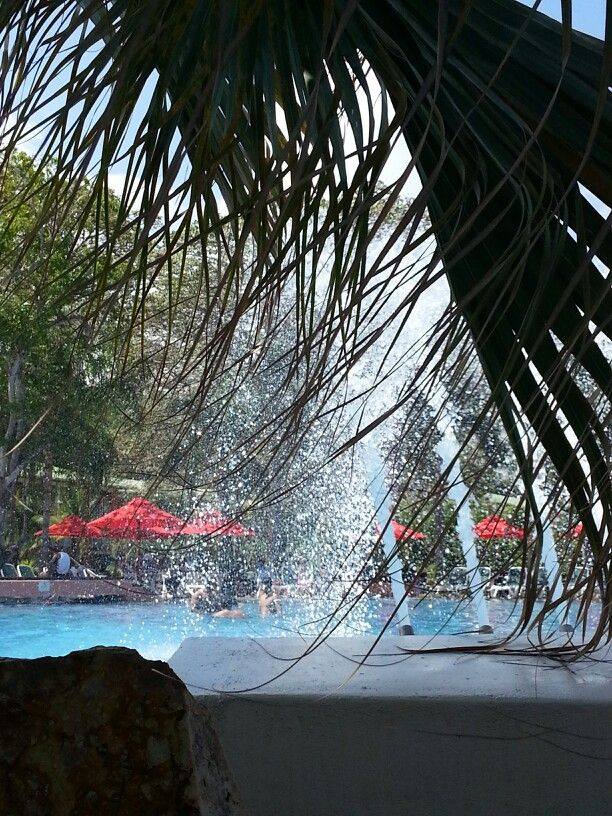 Very cool shady spots in middle of pools