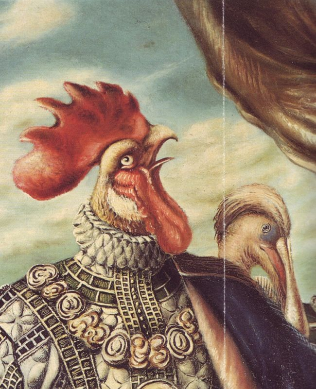 The Marriage of the Cock, 1931,( detail ) by Alberto Savinio, real name Andrea Francesco Alberto de Chirico (1891 - 1952)  was an Italian writer, painter, musician, journalist, essayist, playwright, set designer and composer. He was the younger brother of 'metaphysical' painter Giorgio de Chirico. His work often dealt with philosophical and psychological themes, and he also was heavily concerned with the philosophy of art.