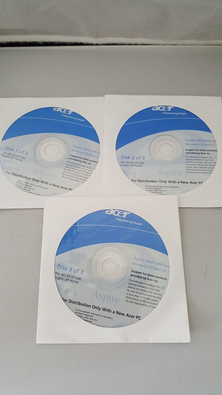 Acer Aspire 3000/5000 Windows XP Home 3 Recovery CD Discs New Fix Acer Laptop
