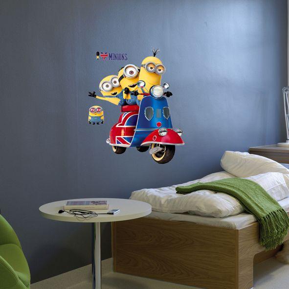 Samolepka na zeď Mimoni skútr 60 x 65 cm. Už jedééém