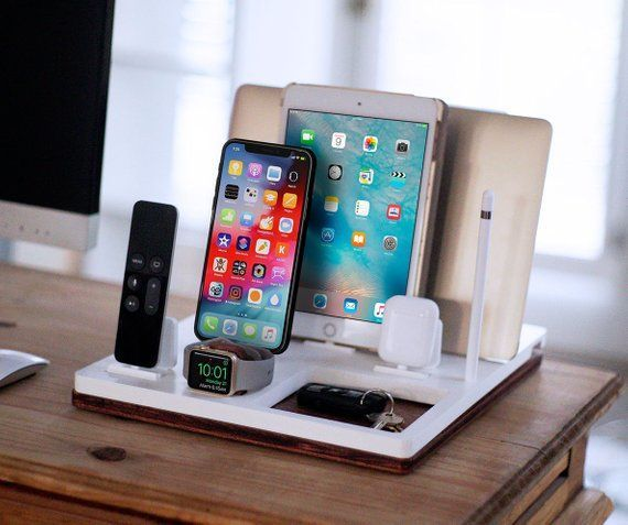 Dskstnd Five Free Shipping Desk Charging Station Wireless Macbook Pro Iphone Xs Xr 8 Ipad Apple Watch 4 Airpod Apple Products Apple Accessories Iphone Charger