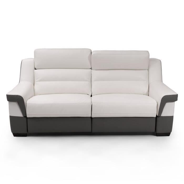 Unicadesign Canape Cuir 3 Places Avec 2 Places Relax Electriques Panarea Blanc Et Gris Made In Italy L 202 X P 95 X H 97 Cm Sofa Furniture Couch
