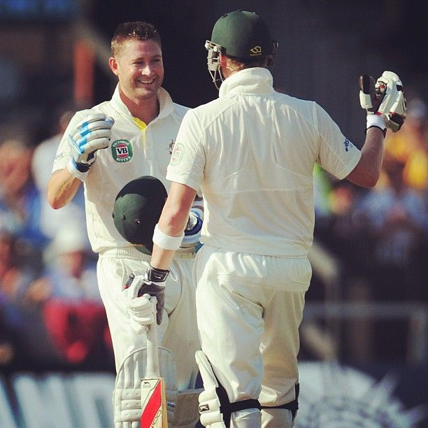What a captain's knock! Steve Smith congratulates his skipper on reaching a gutsy 24th #Test century. Aust 3-303 #Ashes #Cricket