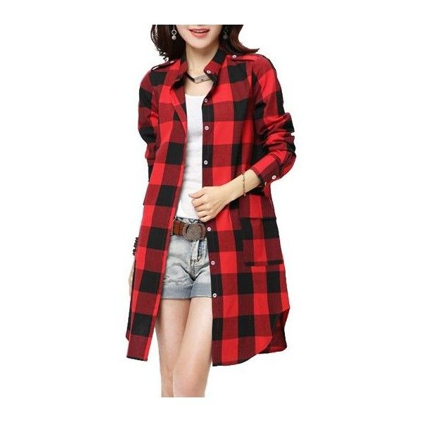 Rotita Plaid Print Red Long Sleeve Shirt ($25) ❤ liked on Polyvore featuring tops, red, plaid top, red long sleeve top, long red shirt, long plaid shirt and long tops