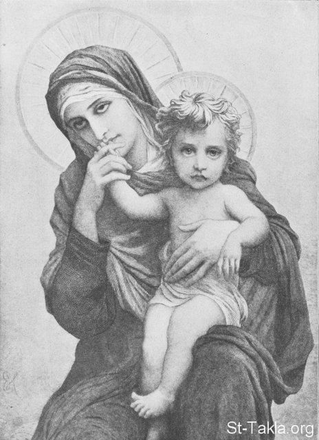 Saint Mary praying for people and kissing the Hands of Jesus - a portrait at one of the Coptic Churches in Egypt