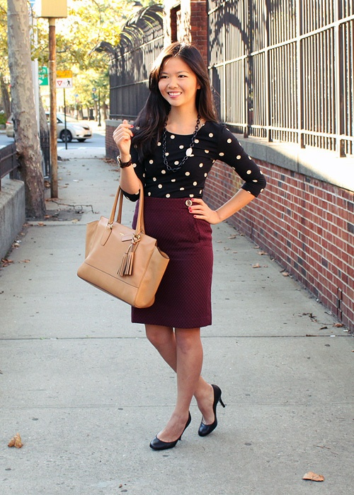 love the skirt/color and the top is cute but still professional