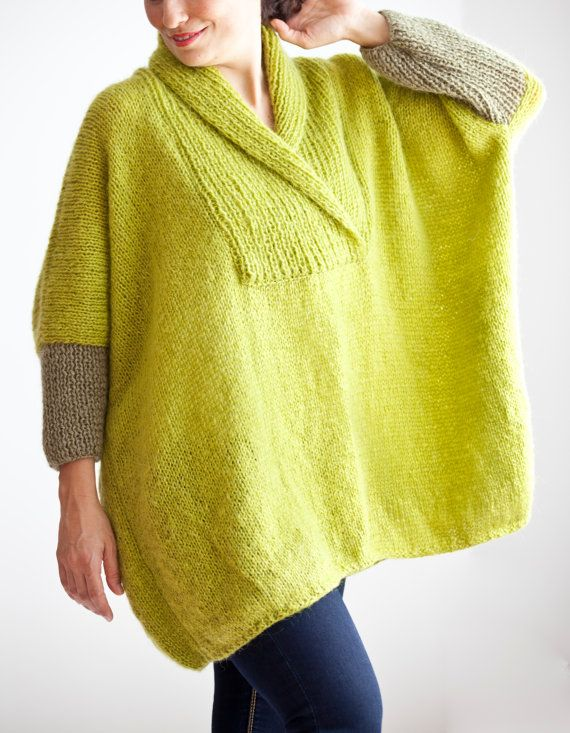 I so want this!! Citrine Green Mohair Hand Knitted Poncho Plus Size Over by afra, $90.00