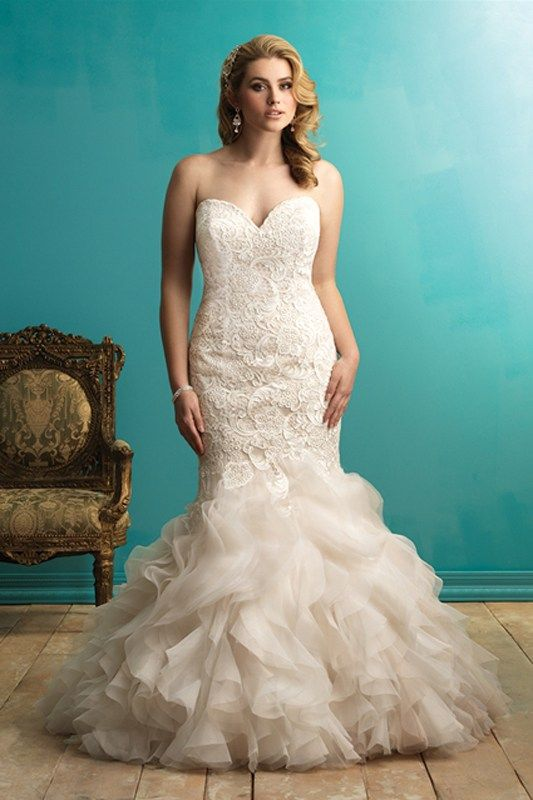 W365 Allure Women Bridal Gown - A beautiful combination of lace and tulle make this bridal gown gorgeous. This fit and flare gown has a fitted lace bodice and a ruffled skirt.