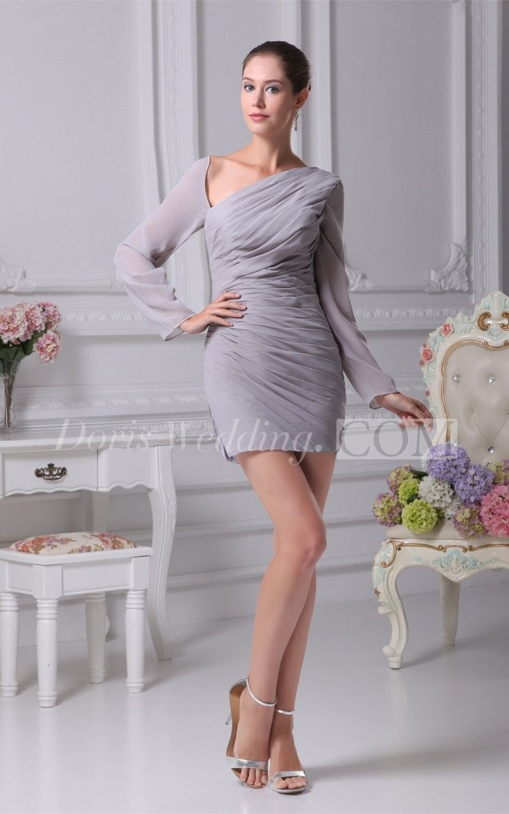 Asymmetrical fitted longsleeve dress with ruched bodice