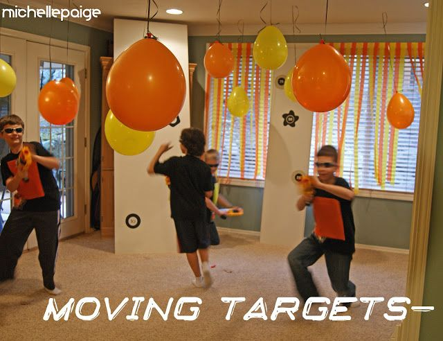 Nerf Gun Moving Targets (great fun for an inside day) - found on a blog, cute ideas! - CafeMom  Great Idea for Bigger Boys' party!