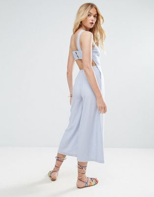 ASOS Minimal Linen Jumpsuit with Open Back