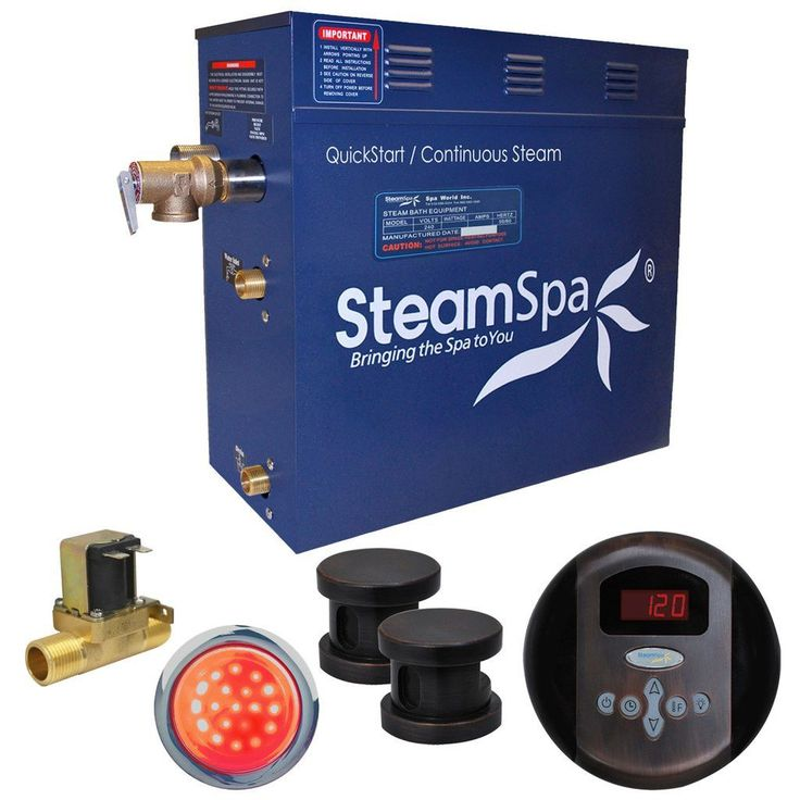 SteamSpa IN1050OB-A Indulgence 10.5 KW QuickStart Acu-Steam Bath Generator Package with Built-in Auto Drain in Oil Rubbed Bronze