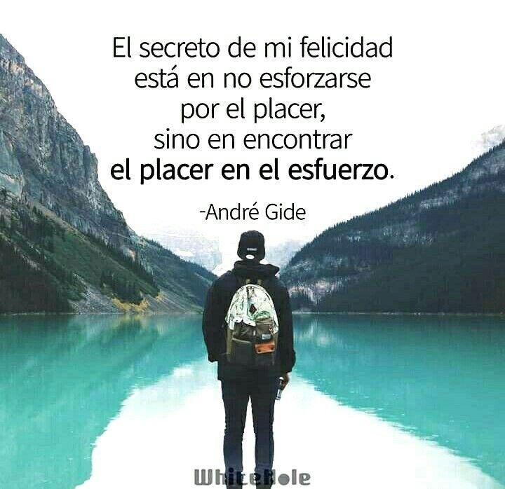 El secreto de mi felicidad esta en no esforzarse por el placer, sino encontrar el placer en el esfuerzo.