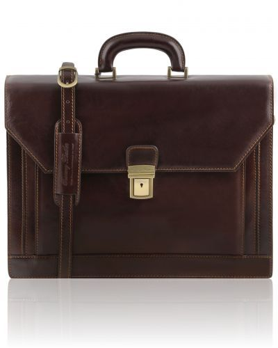 NAPOLI TL141348 2 compartments leather briefcase with front pocket