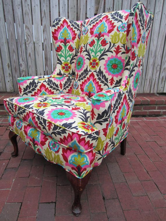 bright color wingback chair...i have a chair just like this and have been itching to recover it