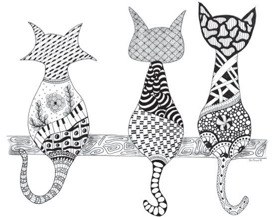 Zentangle art by Sue Brassel, featured in a coloring book for adults | ClothPaperScissors.com