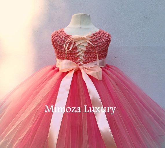 Coral Peach Flower girl dress coral tutu dress by MimozaLuxury
