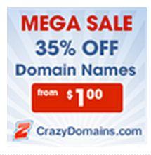 Domain Name Sale 35% off at CrazyDomains.com