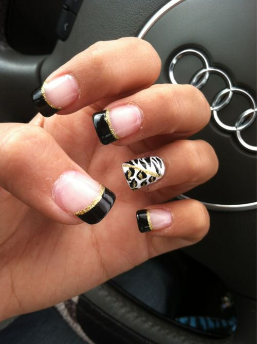 Love these!: Cheetahs Nails, Nails Art, French Manicures, Accent Nails, Nails Design, Black Gold, French Tips, Animal Prints, Leopards Nails