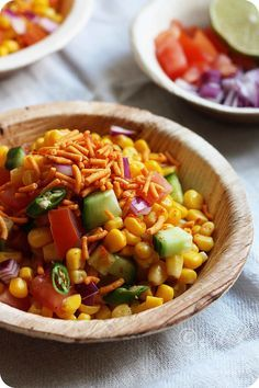 Spicy-Corn-Chaat. A popular delicious Indian street snack.