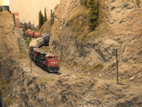 Thompson River Canyon ( Canadian National Railway) - N scale trains - Great Model RailRoad - PoathTV - YouTube