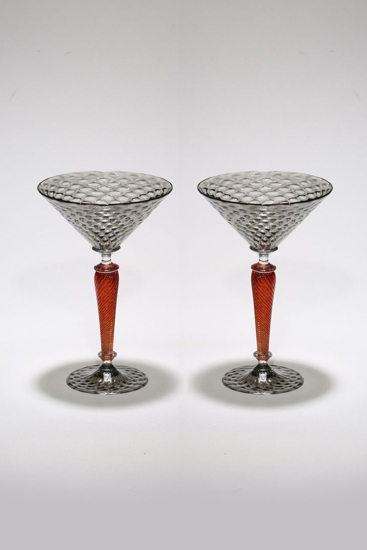 Gray and Red Martini Set by Michael Hermann and Gina Lunn (Art Glass Stemware) | Artful Home